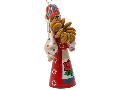 Russian Folk Bagel Vendor Ornament 4.25