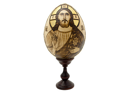 Christ Woodburned Icon Egg