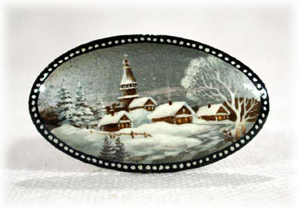 Russian Winter Landscape Brooch 2.5