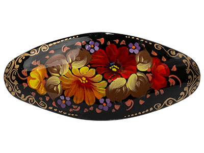 Oval Floral Hair Barrette
