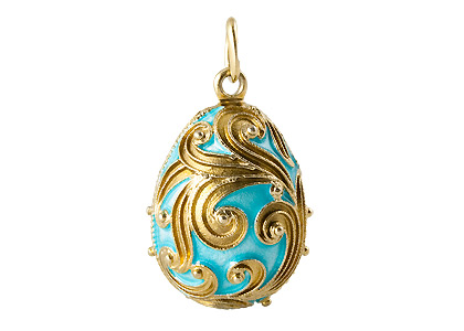 Teal Swirling Gold Faberge Egg Pendant 1