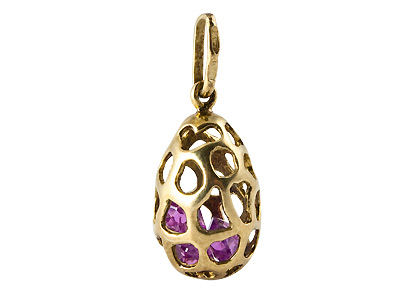 Gold-Plated Pendant with Purple Gems .65