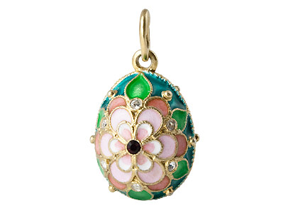 Faberge Pendant Pink Flower on Green Field .75