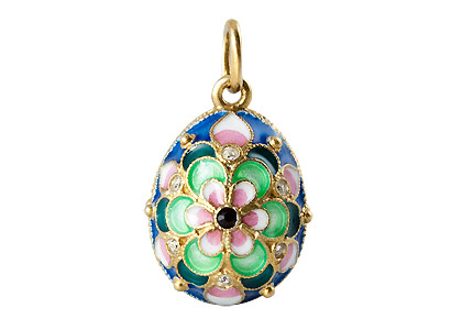 Faberge Pendant Pink & Green Flower on Blue Field .75