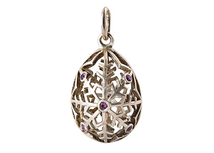 Silver Snowflake Pendant w/ PURPLE CRYSTALS