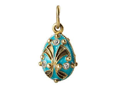 Gold Plate on Aqua Fanfare Egg Pendant .75