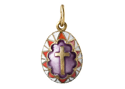 Egg Pendant with Gold Cross