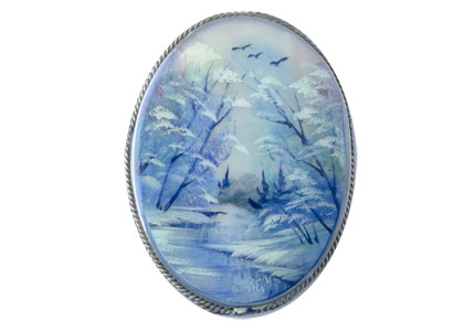 Mother of Pearl Landscape Brooch