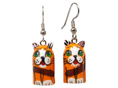 Calico Alley Cat Earrings .5