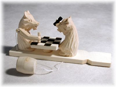 Chess Playing Bear Carved Toy