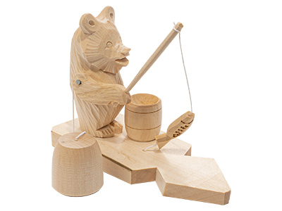 Fishing Bear Carved Toy