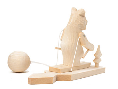 Skiing Bear Carved Toy