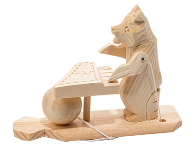 Piano Bear Carved Toy