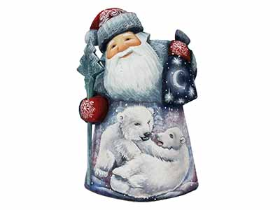 Father Frost Carving w/ Polar Bear Cubs 7