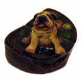 Gift Dog Lacquer box (Fedoskino) by Stakanchikov