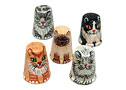Set of 5 Cat Thimbles, Wood 1