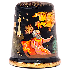 The Golden Cockerel Fairy Tale Thimble, Wood 1