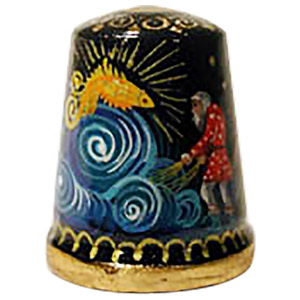The Gold Fish Fairy Tale Thimble, Wood 1
