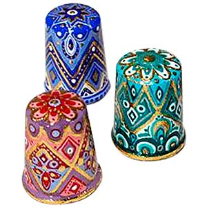 Set of 3 Harlequin Thimbles, Wood 1