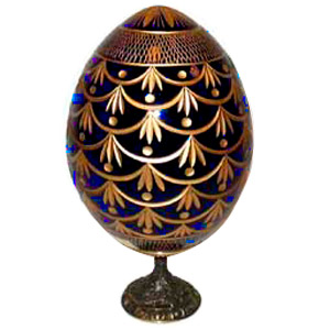FORGET-ME-NOT BLUE Faberge Style Egg Medium w/ Stand