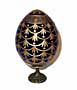 FORGET-ME-NOT BLUE Faberge Style Egg Medium w/ Stand  - Floral D