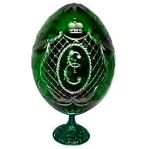 Catherine The Great's GREEN Crystal Egg w/ Stand