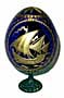 SAIL BOAT BLUE Faberge Style Egg Medium w/ Stand