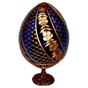 SWIRL BLUE Faberge Style Egg Medium w/ Stand