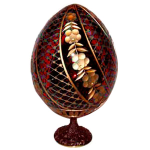 SWIRL RED Faberge Style Egg Medium w/ Stand