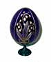 Lily of the Valley BLUE Faberge Style Egg Medium w/ Stand  - Flo