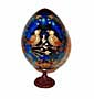 LOVE BIRDS BLUE Faberge Style Egg Medium w/ Stand  - Romantic Gi
