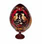 LOVE BIRDS RED Faberge Style Egg Medium w/ Stand  - Romantic Gif