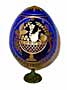 Fruits & Roses BLUE Faberge Style Egg Medium w/ Stand  - Easter