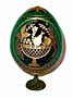 Fruits & Roses GREEN Faberge Style Egg Medium w/ Stand  - Easter