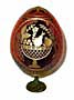 Fruits & Roses RED Faberge Style Egg Medium w/ Stand