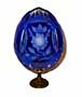 Romanov Rose BLUE w/ 2 Lenses Russian Glass Egg