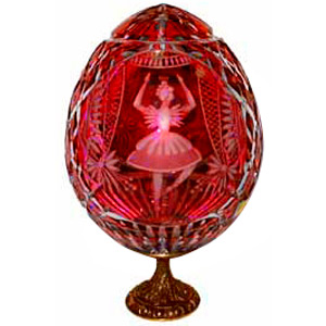SWAN LAKE  Red GRAND DUCHESS Collection Crystal Egg w/ Stand