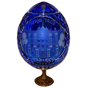 HERMITAGE Blue GRAND DUCHESS Collection Crystal Egg w/ Stand