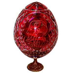 Karl Faberge RED GRAND DUCHESS Crystal Egg w/ Stand