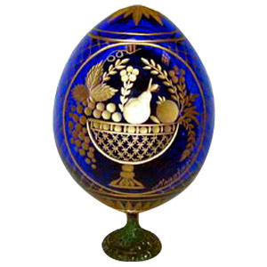 Romanov FRUIT BASKET w/ Stand BLUE Faberge Style Egg