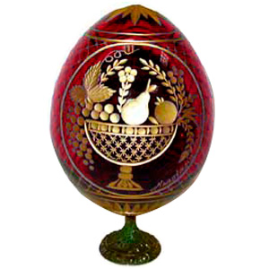 FRUIT BASKET w/ Stand RED Faberge Style Egg Romanov