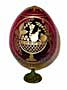 FRUIT BASKET w/ Stand RED Faberge Style Egg Romanov  - Easter Gi