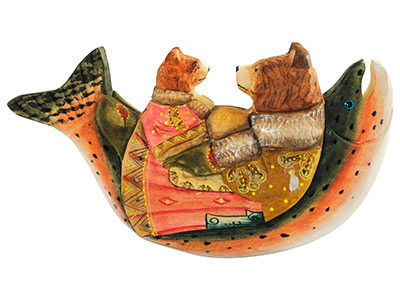 Bedtime Story' Bears Wood Carving