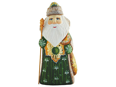 Santa in Green Coat Wood Carving