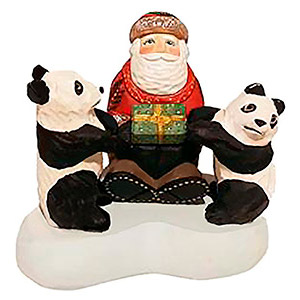 Santa Sitting with Panda Bears 5