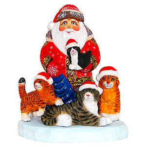 Santa with Kittens Wood Carving