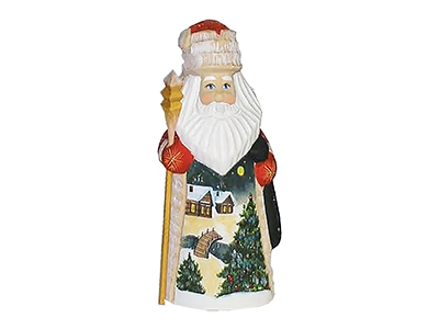 Winter Landscape Carved Wooden Santa 5.5