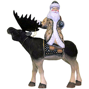 Santa Riding a Moose Carving 8