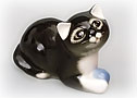 Dark Kitten with a Ball Figurine