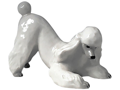 White Poodle Playing Figurine